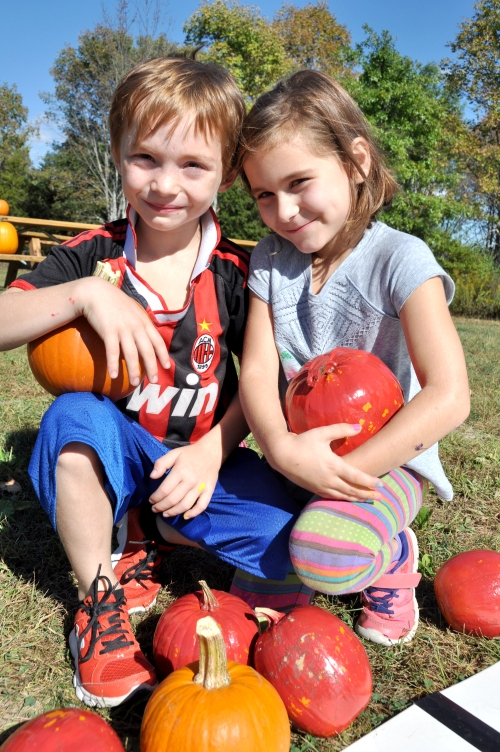 Seven year-old twins Griffin and Elise St. John of New Paltz at last Saturday's New Paltz Central School District's Foundation for Student Enhancement kids event at the Field of Dreams.
